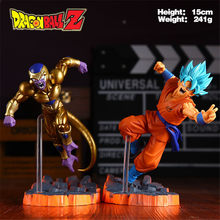 Boneco do dragon ball z golden frieza, brinquedo de modelo de confrontação de frieza vs blue goku, super saiyan goku 15cm(China)