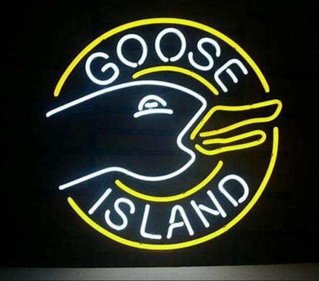 Custom Made Goose Island Glass Neon Light Sign Beer Bar