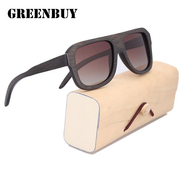 Wood Sun Glasses Square Gafas Sunglasses Pilot Men Brown Polarized Sunglass for Men UV400 Man Glasses Gradient Oculos de sol
