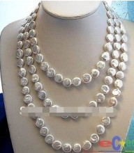 "+++++++LONG 64"" WHITE COIN FW CULTURED PEARL NECKLACE(China)"
