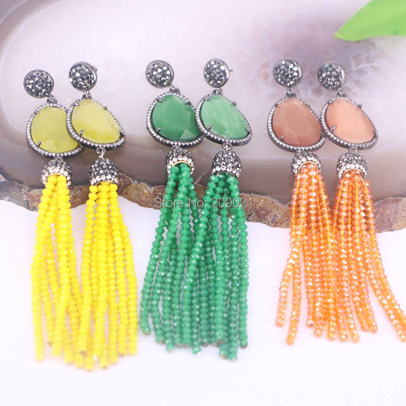 4Pair Bohemian Style Fashion Jewelry Crystal Glass Beads Tassel & Cat Eye stone Bead dangle earrings for Women