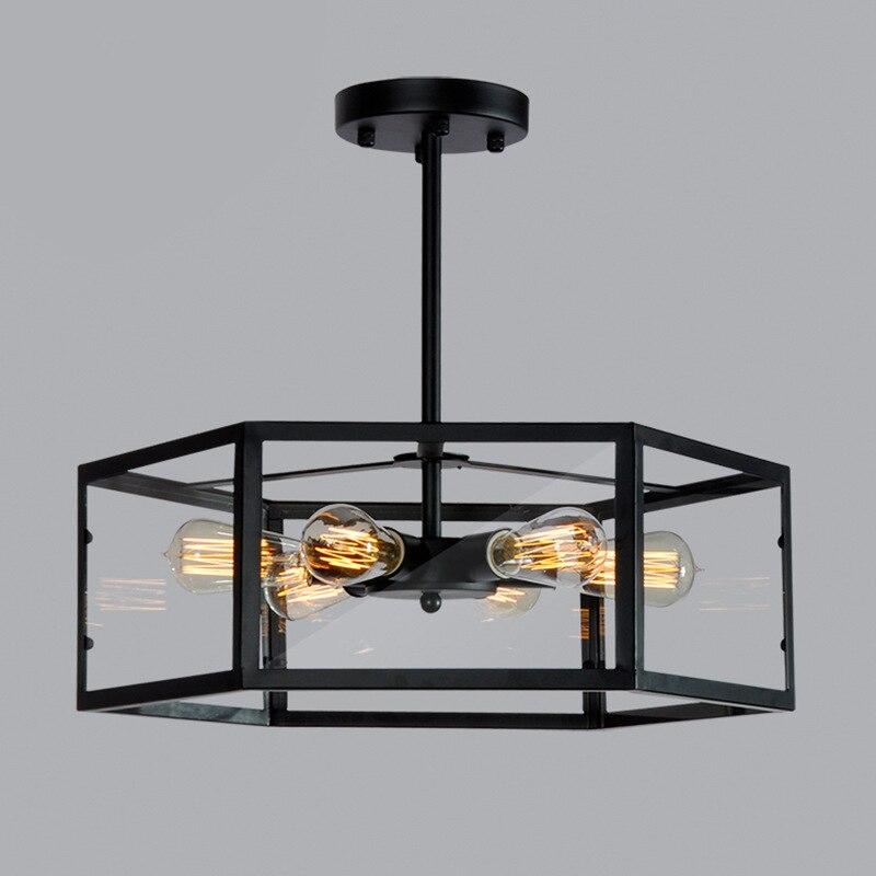 Американский кантри винтажный стеклянный абажур подвесной светильник Ретро подвесной светильник люстры светильники шестиугольная Геомет