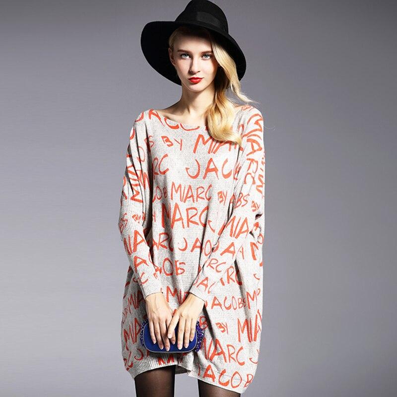 Hitz zimní móda plus velikost dámské svetr plné rukávy dopisy vytištěné pletené svetr volné měkké ženské pulovry dlouhé topy