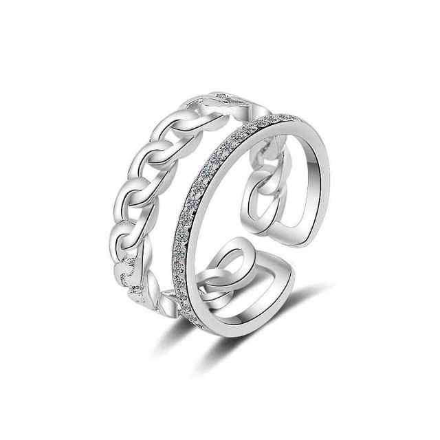 PATICO Open Adjustable Finger Ring Vintage S90 Silver Engagement Jewlery Anel 5A