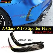 Купить с кэшбэком 1Pair Car Carbon Fiber Rear Bumper Splitter Spoilers Canard A45 Style for Mercedes W176 A180 A200 A250 A45 for Amg 2013-2018