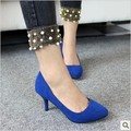 women cute spike heel casual and office pumps lady blue spring and summer slip on pumps female high heel black shoes