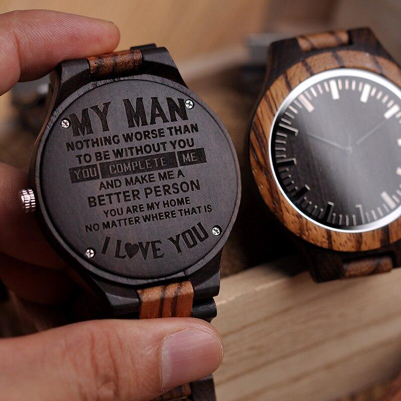 Holz Gravur Uhr Männer Groomsmen Personalisierte Uhren Vater der Geschenk Jahrestag Geschenk eine Große Geschenke Für Mann Relogio Masculino