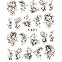 1 stücke Blume Wasser Transfer Nagel Aufkleber Schwarz Floral Reben Dekoration Maniküre Slider Aufkleber Tipps Tattoo Nail art Aufkleber LABLE891