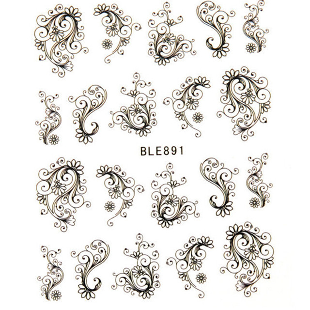 1pcs Beaty Flowers water transfer nail sticker sheet on finger nails stickers for women minion nail sticker decasl  LABLE891