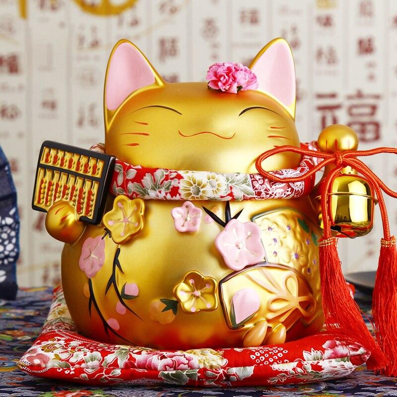 8 дюймов золотой Керамика Манеки Неко орнамент Лютни счеты Дизайн Lucky Cat Копилка фигурка домашнего декора Фортуна кошка с колокол
