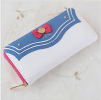 DHL 10 pieces Sailor Moon Ladies Long Zipper Female Bag Women brand PU Leather kawaii Wallet Purse day clutch