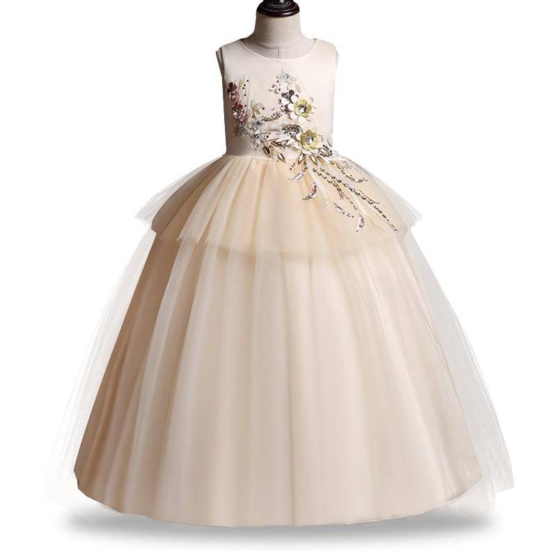 Ladies Dress Flower Girl Dresses For Wedding Girls Dress First Communion Princess Beading Dress Baby Party Evening Tutu Costume