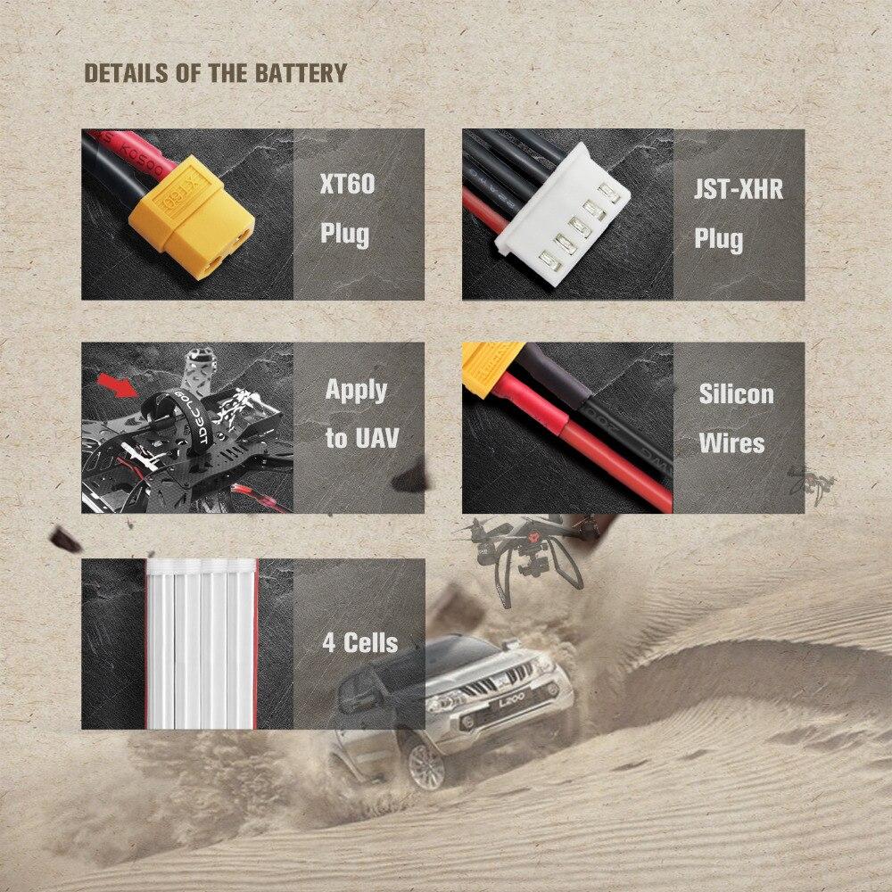 2 UNITÉS GOLDBAT 14.8 V chargeur de batterie 1500 mAh 4 S chargeur de batterie lipo 100C Pack lipo avec XT60 Plug pour RC Voiture camion Avion FPV - 6