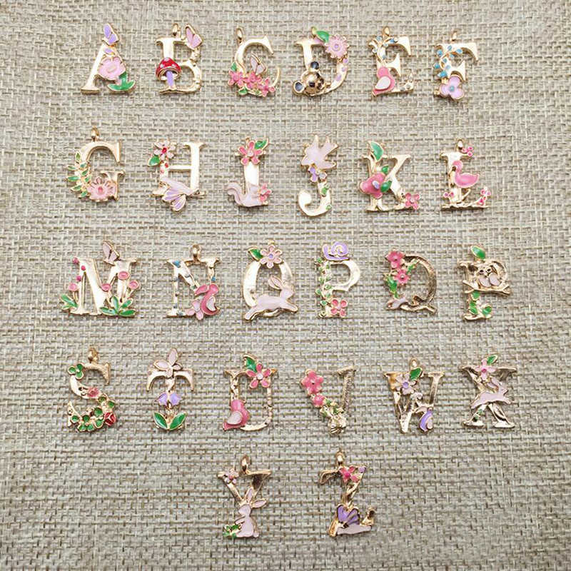 1 PC Hot Sale High quality 13*18mm Metal Alloy Flower Letters Charms Fashion Alphabet Jewelry Bracelet  Pendants Findings A-T
