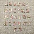 1 PC Venda Quente de Alta qualidade 13*18mm Liga de Metal Cartas de Flor Encantos Alfabeto Moda Jóias Pulseira Pingentes achados A-T