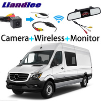 Liandlee 3in1 Wireless Receiver Mirror Monitor Special Rear View Camera Backup For Mercedes Benz Dodge Sprinter 906 NCV3