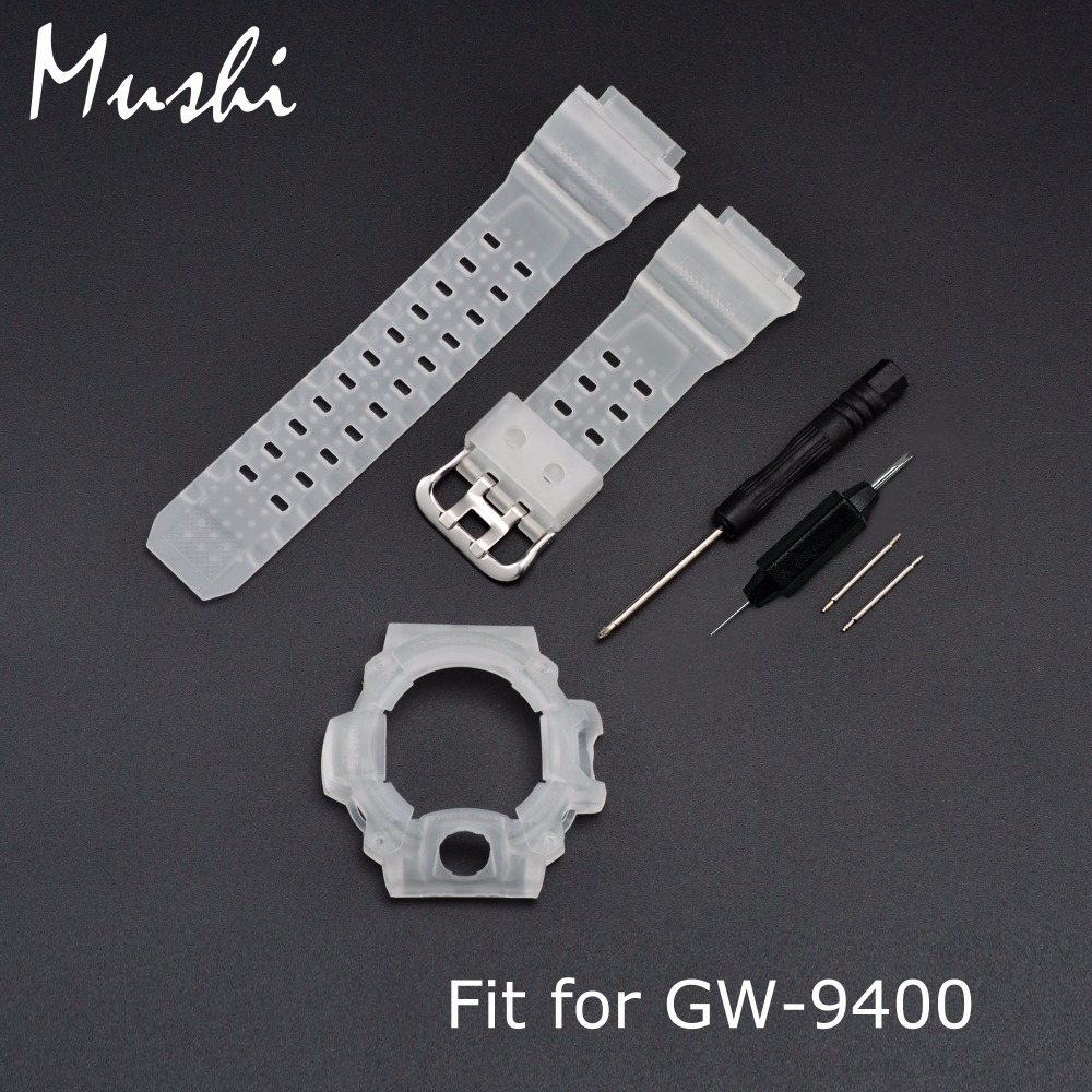 MS Silicone Rubber Watch Strap for Casio GW-9400 Half Translucent Men Sport Diving Metal Buckle Watch Band Watch Case with Tool casio gw 9400 1e
