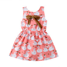 NOVEL fashion summer printing New Kid Baby Girl Toddler Princess Bow Floral Swan Pageant Party Tutu Cute Dress wild lovely CH(China)