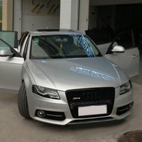 Honeycomb Mesh Front Grill Grille for Audi A4 B8 S4 RS4 S Line 2009 2012 RS4 Style Black Emblem