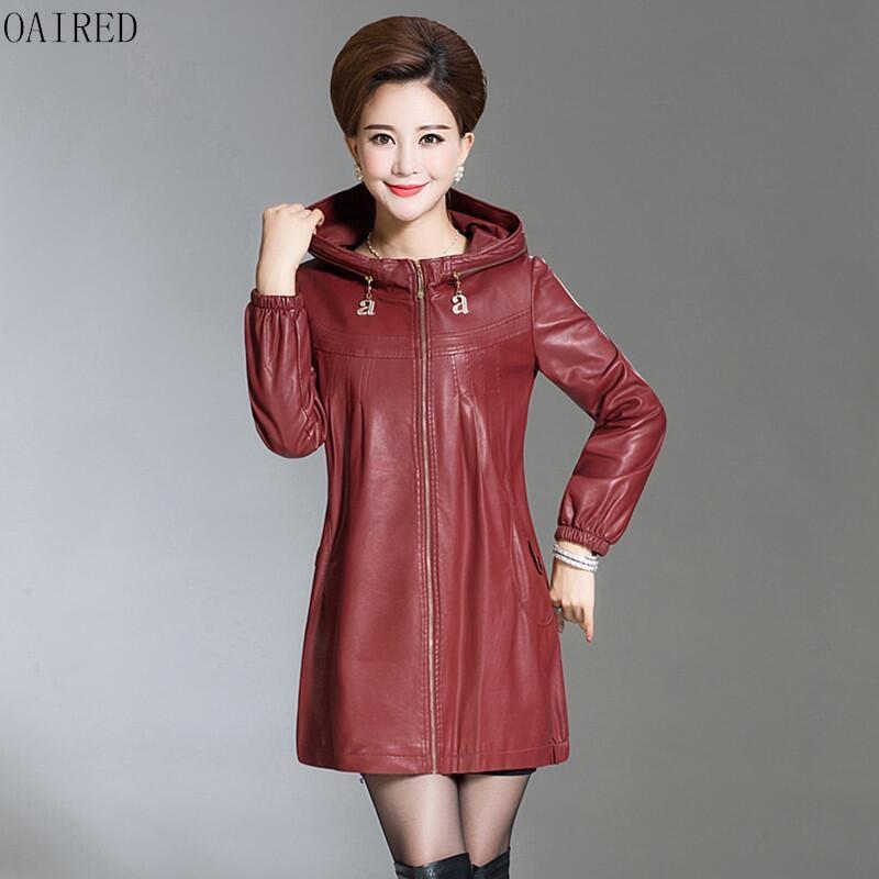 プラスサイズ 6XL 革ジャケット女性新 2019 黒革のコートの女性スリムオートバイの革の服女性の上着赤  グループ上の レディース衣服 からの レザー & スエード の中 1