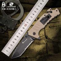 HX extérieur haute dureté lame pliante couteau tactique 9Cr18Mov lame G10 poignée extérieur Camping couteaux défense EDC couteau outils