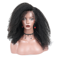 Монгольский афро излом вьющиеся Кружево парик 13x6 Синтетические волосы на кружеве Человеческие волосы Искусственные парики предварительно...