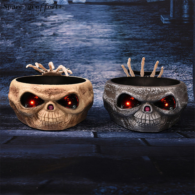 Halloween Decorations Fruit Dish with Jumping Skull Hand Halloween Decor Supplies Candy Organizer Home Party Bar Horror Props