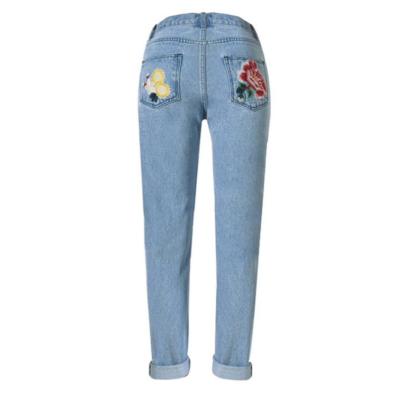 Mom Jeans Pantalon Femme Brand Femme Jeans With Embroidery Flower - Women's Clothing - Photo 3
