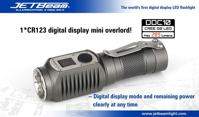 1PC JETBeam DDC10 Flashlight Digital Display 285 Lumen Cree G2 LED 285 Lumen Waterproof LED Flashlight Torch 1*CR123