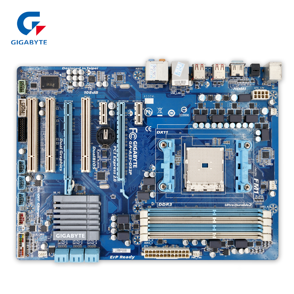 Gigabyte GA-A55-DS3P Original Used Desktop Motherboard A55-DS3P  A75 Socket FM1  DDR3 SATA2 USB2.0 ATX  free shipping original motherboard for gigabyte ga a55 s3p socket fm1 ddr3 32gb a55 s3p all solid atx desktop motherboard