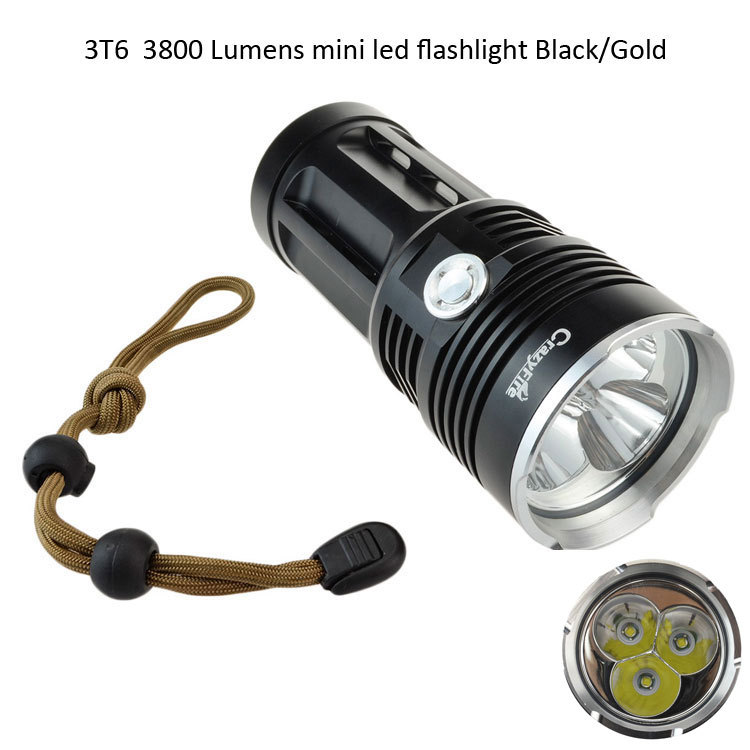 3 Cree XM-L T6 3800 Lumen LED Flashlight Torch Waterproof Tactical Light Lantern 3 Mode Mini Flash Lights By 18650 Free Shipping new klarus xt11gt cree xhp35 hi d4 led 2000 lm 4 mode tactical led flashlight free usb port and 18650 battey for self defence