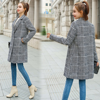 2018 Winter Coat Women Korean Houndstooth Wool Coat Plaid Coats Womans Fashion Overcoat