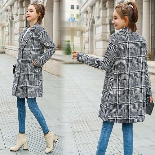 2018 hiver manteau femmes coréen pied de poule laine manteau Plaid manteaux femmes mode pardessus