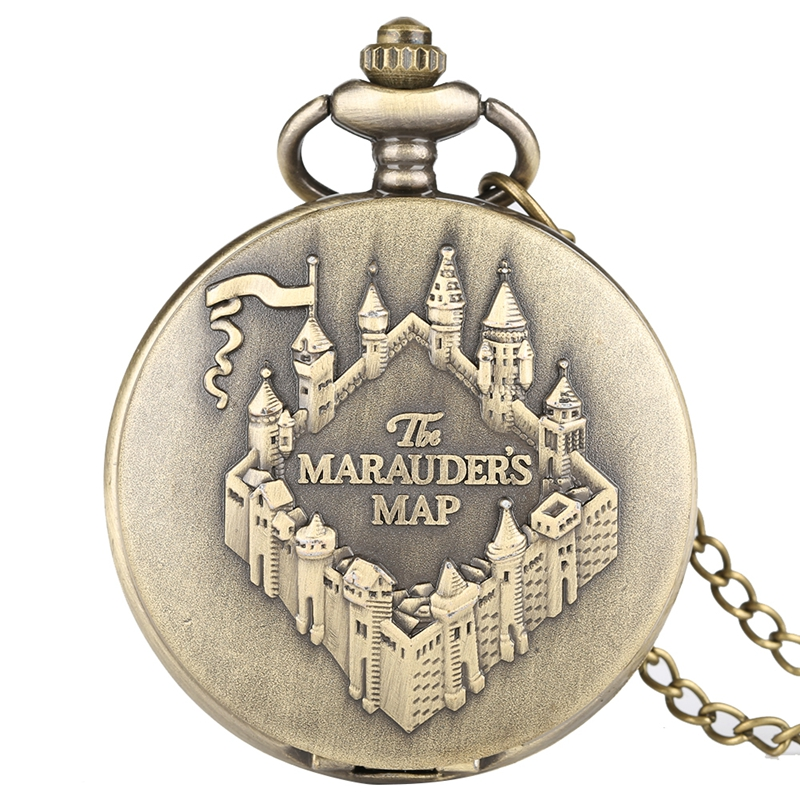 The Marauders Map Necklace Copper Quartz Pocket Watch Pendant Clock Round Dial Analog Chain Retro Bronze Hour Gift For Men Women