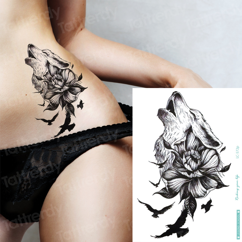 Temporary Tattoo Wolf Black Birds Animals Wolf Tattoo Designs Big Fake Tatoo Temporary Stickers Bikini Sexy Decal Girls Beach