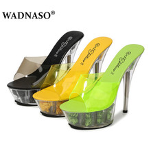 WADNASO Model Catwalk Women Shoes Slippers Explosive Sexy Floral High heel Shoes 15CM Sandals Crystal Shoes Female Wedding Shoes