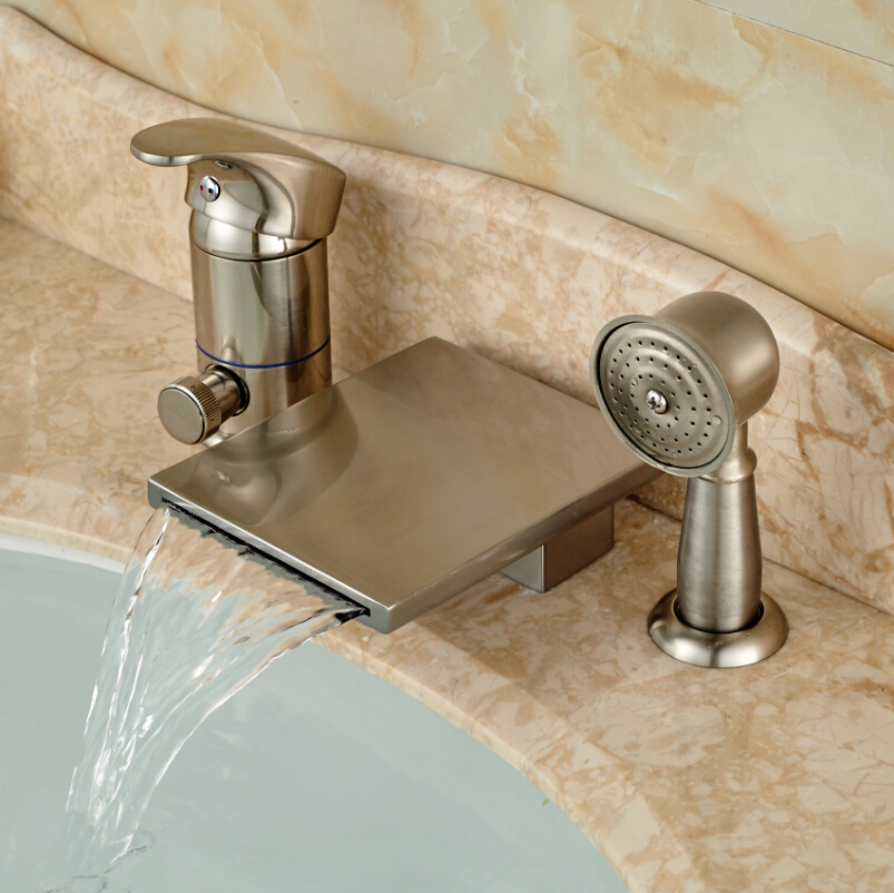 Waterfall Spout Bathroom Faucet: Deck Mount Single Handle Waterfall Spout Bathroom Tub