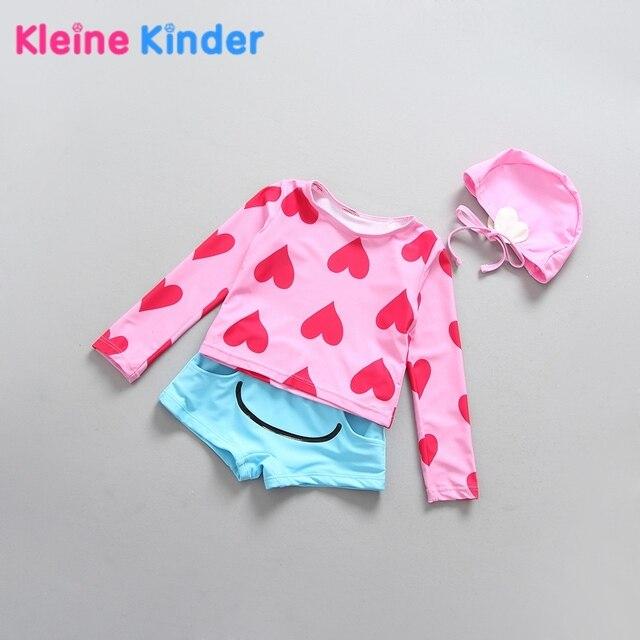 aa02f04f3b15 € 11.93 51% de DESCUENTO Niñas traje de baño de manga larga protección  solar amor corazón dos piezas con tapa rosa princesa Girl traje de baño ...