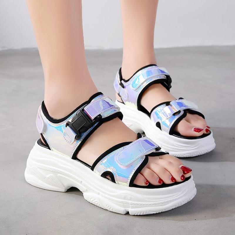 Platform Sandals Wedge-Shoes 5cm-Heels Bling Women Summer