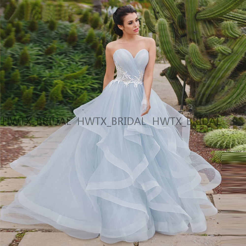 US $141.96 22% OFF|Ruffles Tiered Skirt Prom Dresses 2019 Sky Blue Plus  Size A Line Sweetheart Corset Long Prom Dress Custom Made Party Formal  Gown-in ...