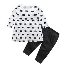 Fashion Cute Kids T shirt pants baby Clothes Sets Autumn Skirt Baby Girls Outfit Dress Leggings