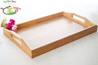 1x 38*25cm / 15*10inch Flat Kung fu Tea Tray with Handle Solid Plate Bamboo Gongfu Tea Serving Tray Table