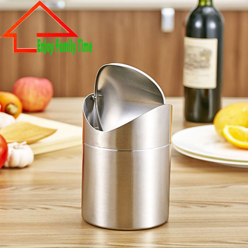 2018 Free Shipping Standing Stainless Steel Trash Can Round Rolling Cover Type Garbage Bin Space-saving Kitchen Trash Can