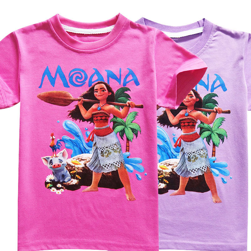 HTB1uAOCxY1YBuNjSszeq6yblFXaO - Disney princess Girl shirts T-shirt Moana Ocean Romance Children kids short sleeve T-shirt summer