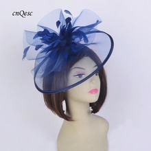 New navy blue crin fascinator feather headpiece Kentucky Derby hat wedding races church bridal shower mother of the bride