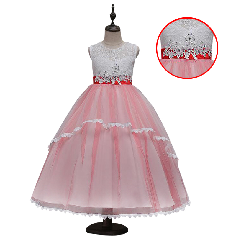Flower Girl Dress Elegant Girls Sleeveless Diamond Sequin Lace Clothes Wedding Party Dress For Girl Children's Princess Dresses new flower girls dress diamond sequin
