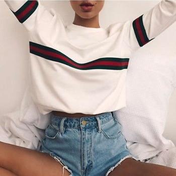 Women Striped Print Hoodies Sweatshirt 2018 Spring Harajuku Loose Pullover Long Sleeve Female Tops Tracksuit