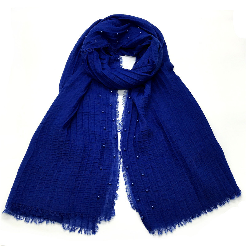 85*200CM Muslim Pearl Shawl Cotton Turban Solid Color Islamic Clothing Crinkle Inner Hijab Women Full Cover Cap Wrap Head Scarf