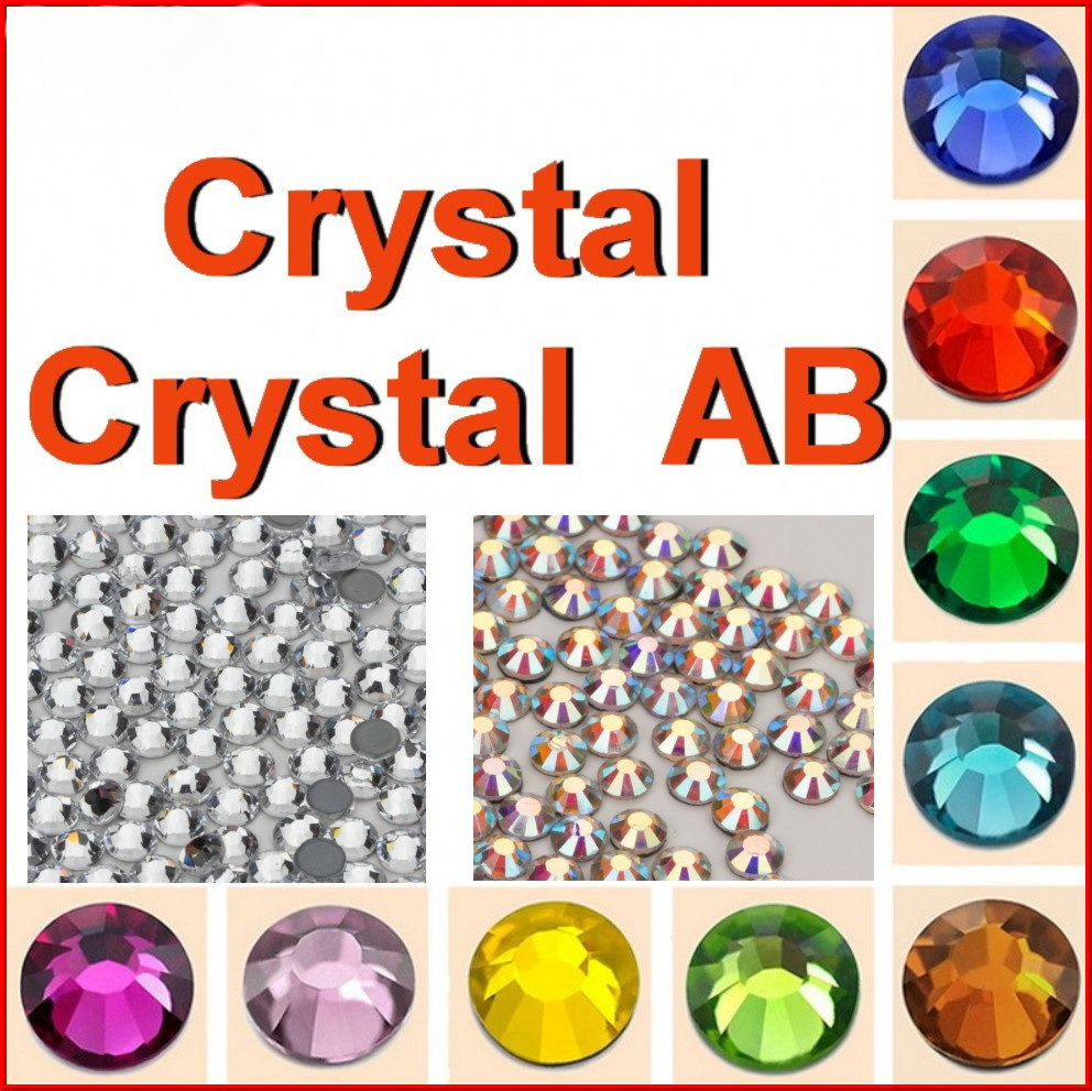 Top Quality !SS 4 6 8 10 12 16 20 30 34 40 Clear Crystal and Crystal AB Color DMC Hot Fix Rhinestone iron on Stones for Women