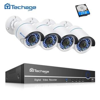Techage 8CH 4CH 1080 P POE NVR CCTV 보안 시스템 2.0MP 야외 방수 IP 카메라 P2P 비디오 감시 시스템 키트 1 테라바이트 HDD